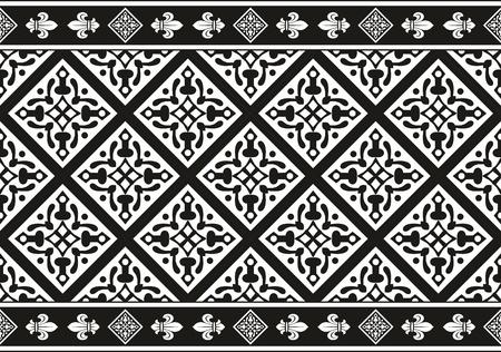 edad media: Geométrico inconsútil gótico textura vector floral blanco y negro (frontera) Vectores
