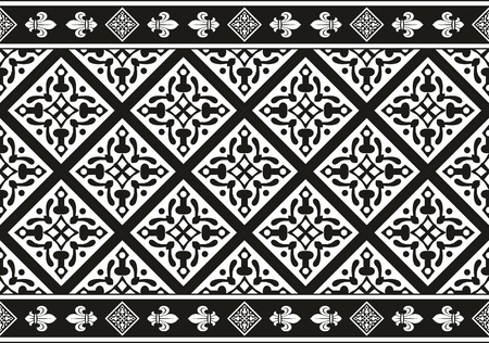 Geometrical Seamless black-and-white gothic floral vector texture (border)