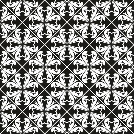 Seamless geometrical gothic floral pattern with cross Vector