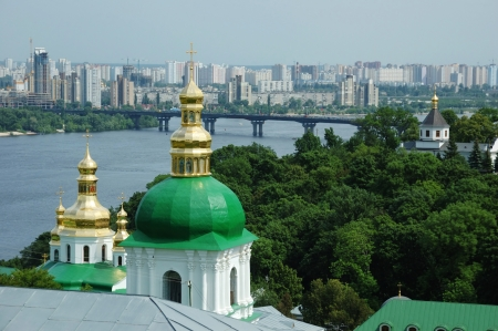Kiev skyline and church of Kiev-pechersk lavra  - orthodox christian monastery photo