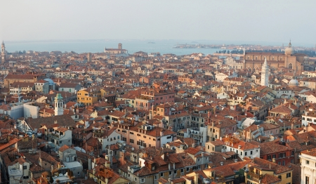 Panorama of old Venice ,Italy, view from the bell tower photo