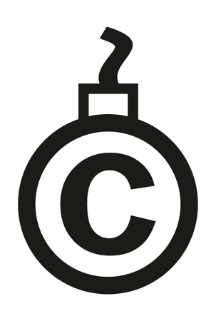 cannonball: Cannonball-shaped copyright sign