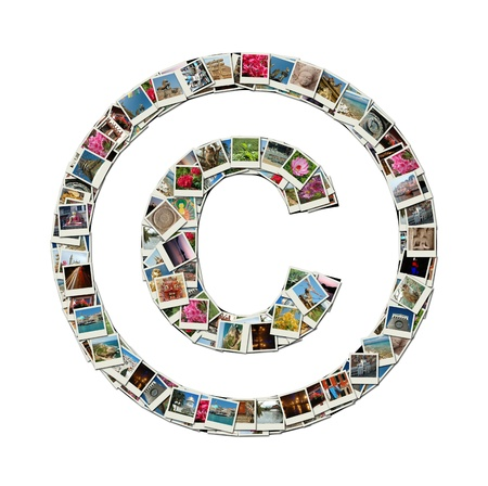 Copyright sign - conceptual illustration made like collage of travel photos Stock Illustration - 14511415