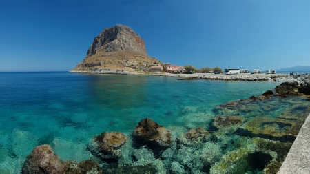 peloponnese: Panorama of old rock byzantine town Monemvasia ,Peloponnese,Greece
