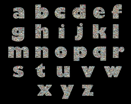 Unique English alphabet made like collage of travel photos on a black background  photo