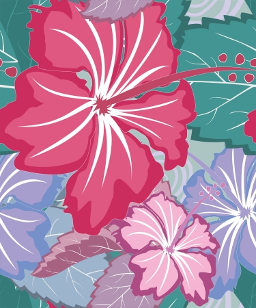 Colorful tropical floral seamlesspattern Vector