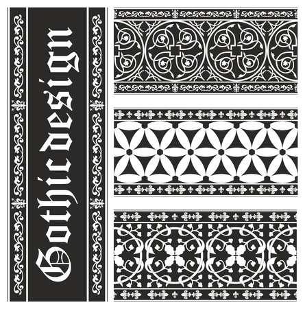 Set of seamless black-and-white gothic floral ornaments Vector