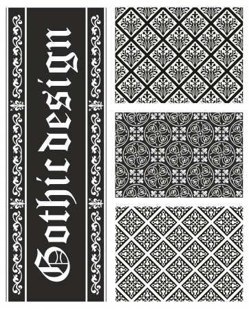 flower age: Collection of seamless black-and-white gothic floral vector textures Illustration