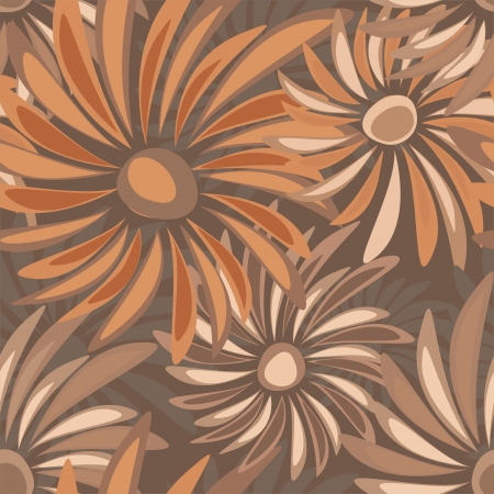 Retro floral vector seamless texture with asters Vector