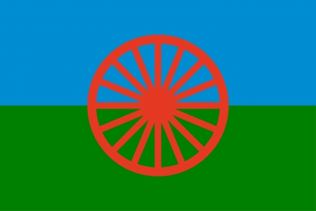 Gypsy (Roma) flag - blue , green and blue colors symbolize sky,earth, red wheel symbolizes movement Stock Vector - 15779569