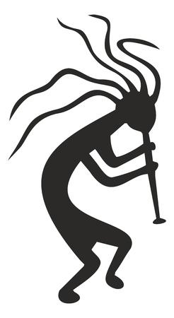 flauta: Kokopelli - símbolo tribal, deidad pagana de la fertilidad de las culturas nativas norteamericanas