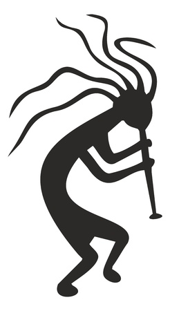 Kokopelli - tribal symbol,pagan fertility deity of native american cultures Ilustracja
