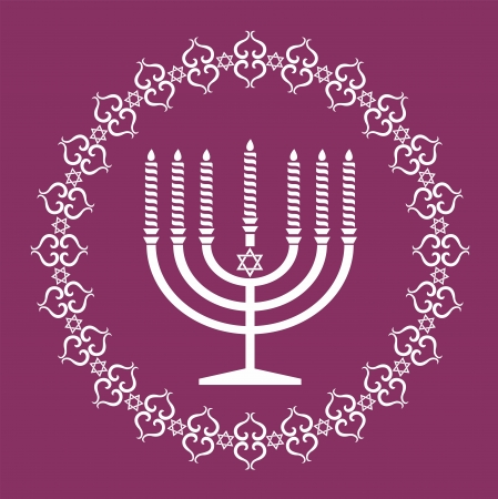 judaica: Jewish menorah holiday background Illustration