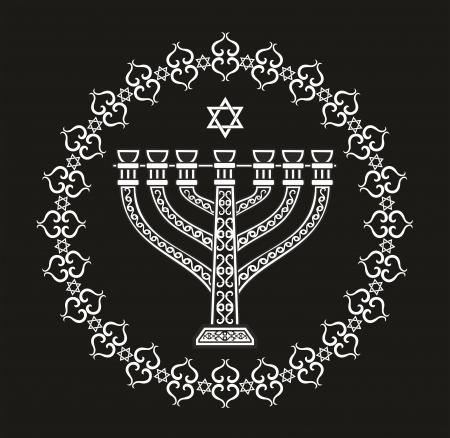 judaica: Jewish religious vector background with menorah