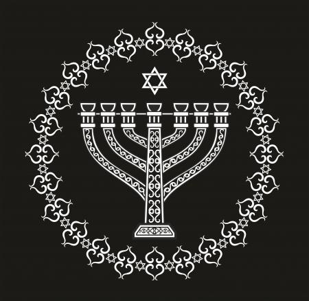 jeruzalem: Joodse religieuze vector achtergrond met menora