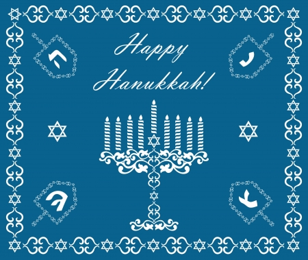 judaica: Chanukah holiday background with dreidels and khanukiyah, vector illustration