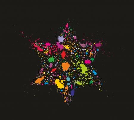 estrella de david: Grunge colorido estilizado estrella de David - ilustraci�n vectorial vacaciones
