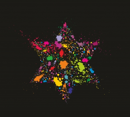 Grunge stylized colorful David Star - holiday vector illustration