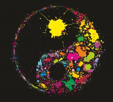 Grunge Yin Yan símbolo hecho de salpicaduras de pintura de colores sobre fondo negro Ilustración de vector