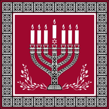 magen david: Holiday jewish background with menorah - vector background Illustration