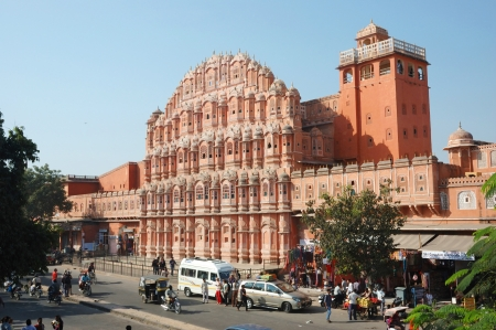 Jaipur,Rajasthan,India,November 28,2012 - tourists visiting famous landmark Hawa Mahal (Palace of winds)