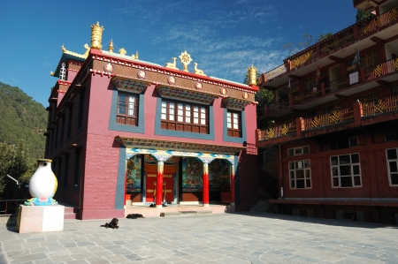 institute is holy: Drikung Kagyu Gompa in holy buddhist place Rewalsar, Mandi,Himachal Pradesh, India Stock Photo