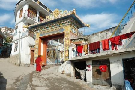institute is holy: Rewalsar,Himachal Pradesh,India,December 10,2012- Buddhist monk entering Zigar Drikung Kagyud Institute in Rewalsar- important sacred place of tibetan buddhism