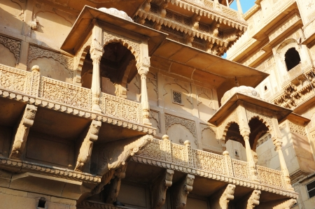 Old beautiful Haveli  mansion  in Jaisalmer golden city,Rajasthan,India photo