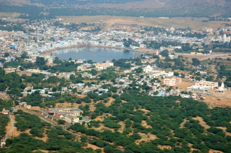 Pushkar view, famous Hindu pilgrimage town, city name means blue lotus flower in Sanskrit, Rajasthan,India photo