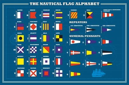 maritimo: Mar�tima Internacional banderas de se�ales - alfabeto mar, ilustraci�n vectorial Vectores