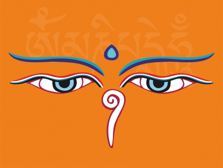stupa: Buddha eyes or Wisdom eyes - holy asian religious symbol, vector illustration Illustration