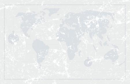 coordinates: Grunge old  world map background, vector illustration