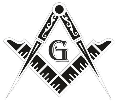 occultism: Freemasonry emblem - the masonic square and compass symbol, vector illustration
