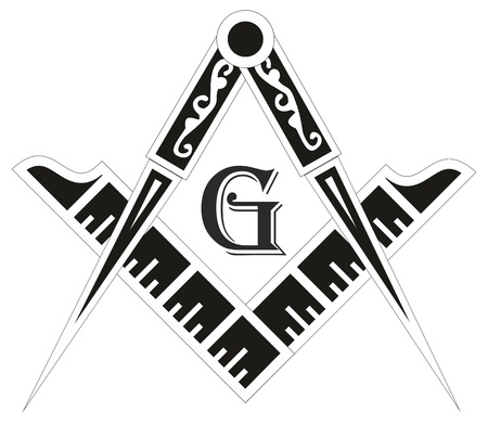 Freemasonry emblem - the masonic square and compass symbol, vector illustration