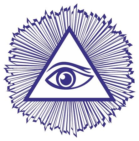 Ojo de la Providencia o All Seeing Eye Of God - famoso símbolo masón, ilustración vectorial Ilustración de vector