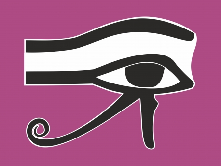 ojo de horus: Ojo egipcio de Horus - s�mbolo religioso antiguo, ilustraci�n vectorial
