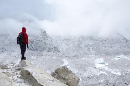 talus: Mountaineer standing near Khumbu Icefall