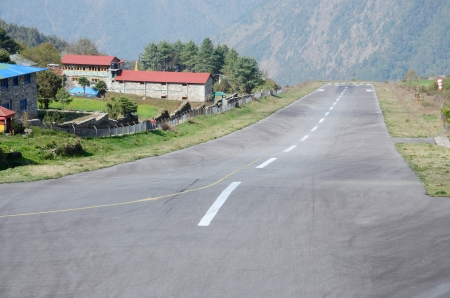 One of the most dangerous airports in the world - Tenzing-Hillary Airport also known as Lukla in Nepal  photo