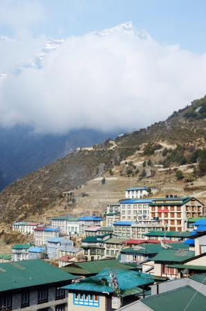 porter house: Namche Bazaar village view - capital of sherpa people ,Sagarmatha National Park, Everest region, Nepal,Himalayas,located at 3440 m