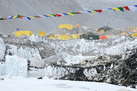 icefall: South Everest Base Camp in Himalayas,Nepal,one of the most popular trekking routes