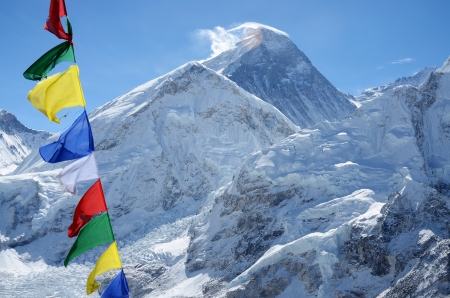Summit of mount Everest or Chomolungma - highest mountain in the world, view from Kala Patthar,Nepal,Himalayas