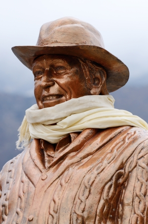 climbed: KHUMJUNG,NEPAL - APRIL 17: statue of Sir Edmund Hillary on April 17, 2013 in Khumjung village,Nepal,Himalaya.This statue is dedicated to the first man who climbed summit of Mount Everest  Statue of Sir Edmund Hillary - New Zealand mountaineer who first cl