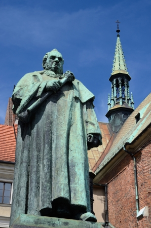 st  francis: Monument of famous scientist and professor of Jagiellonian University, Jozef Dietl in Front of St. Francis of Assisi Church in Krakow, Poland.He was a pioneer in  balneology and mayor of Krakow from 1866 to 1874 Stock Photo