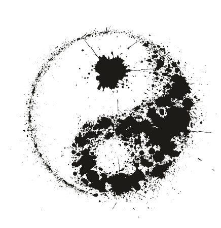 yin y yan: Grunge Yin Yan símbolo hecho de salpicaduras de tinta negra sobre fondo blanco