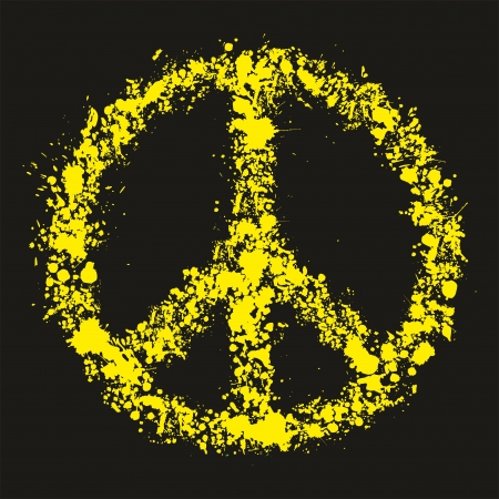 peace stamp: Grunge peace symbol - pacific, vector illustration Illustration