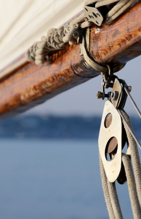 arma: Old rigging on wooden sailing boat