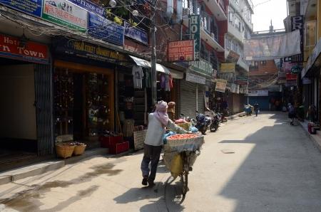 epicenter: Thamel,Kathmandu,Nepal,April 30,2013 -  people walking along famous Freak street  Jhochhen Tole  in Thamel, Kathmandu, Nepal  Freak Street was the epicenter during the Hippie trail from early 1960