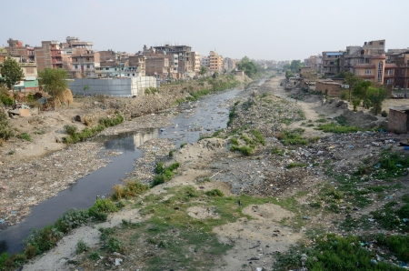 kathmandu: Polluted slum area near sacred Bagmati river in Kathmandu, Nepal,Asia