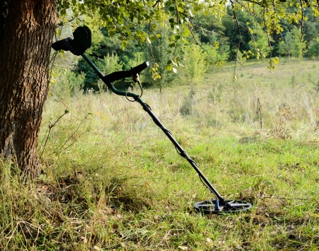 metal detector: Mine detector in the forest