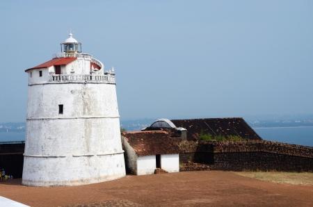 aguada: Lighthouse in Aguada fort,located near Sinquerim Beach,Goa,portuguese India  Stock Photo